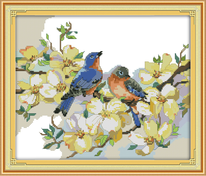 2019 Fashion Singing Birds Fragrant Flowers Counted Printed On Fabric Dmc 14ct 11ct Cross Stitch Kits,embroidery Needlework Sets Home Decor Arts,crafts & Sewing Cross-stitch