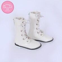 Ayakkabı bebek BJD 1 çift 6.5cm PU deri çizmeler moda Mini oyuncak dantel kanvas ayakkabılar 1/4 bebek Fairyland luts bebek aksesuarları