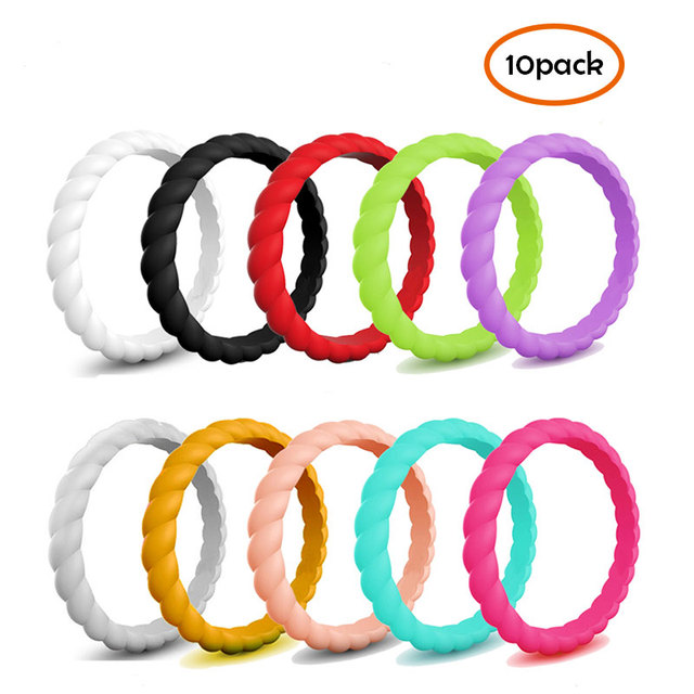 Size 4-10 Braid Hypoallergenic Silicone Rubber Flexible Ring Band Wedding Engage