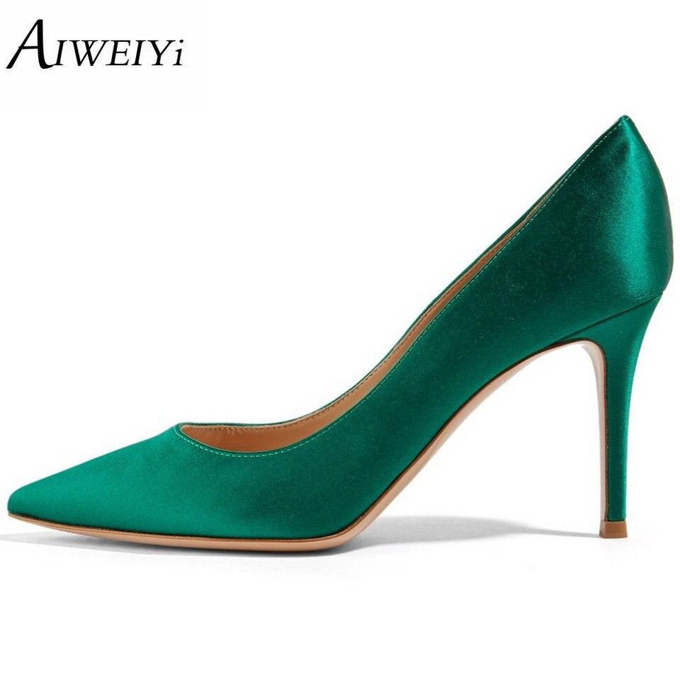 AIWEIYi Women High Heels Shoes Pointed Toe Pumps Silk Fabrics Pumps Slip On Wedding Bridal Party Dress Elegent Prom Ladies Shoes