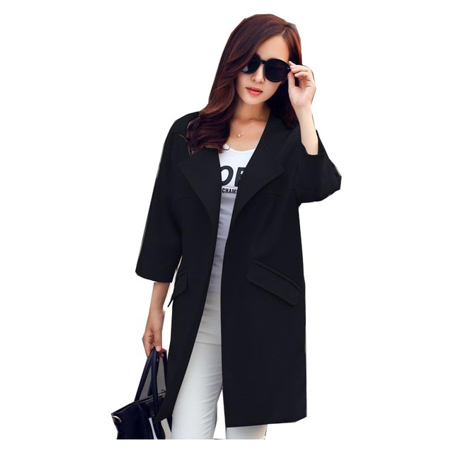 2016 Women Spring Coat New Fashion O-Neck Three Quarter Sleeve Women Trench Coat Spring Autumn Women Long Coat Plus Size A418