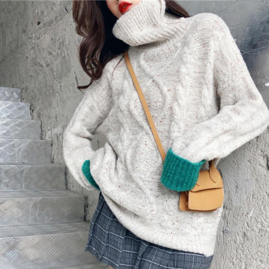 Qualità Pullover Inverno 2019 Collo Manicotto Di Colore Rappezzatura 7ZzwPCqx