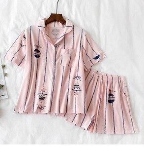 Image 2 - Pyjamas Sets für Frauen 2019 Sommer Mode Nachtwäsche Freizeit Haus Tuch frau kurzarm baumwolle pyjama Mädchen Nachtwäsche Set