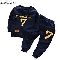 Весенне-осенняя одежда для мальчиков и девочек хлопковые комплекты с длинными рукавами и буквенным принтом детская одежда спортивный кост...