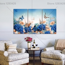 5D diamond embroidery square sets full decorative diy painting flowers and butterfly 3pcs cross stitch