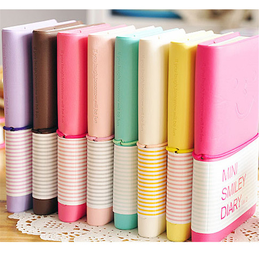 Candy Colors Notebook  Cute Planner Mini Smiley Paper Diary Leather Agendas Note Pads Office School Stationery