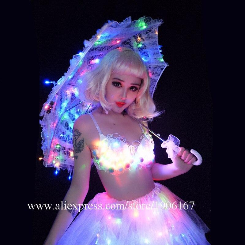 White Valentine\'s Day LED luminous wedding design gogo female songs ds hundred DJ suit costumes03