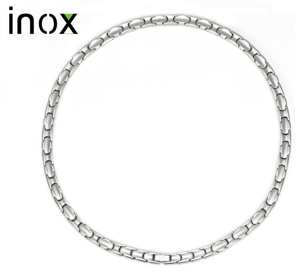 Inox Pure Titanium Necklaces for Women Men Fashion Jewelry Initial Health Energy Negative Ion Germanium Hematite