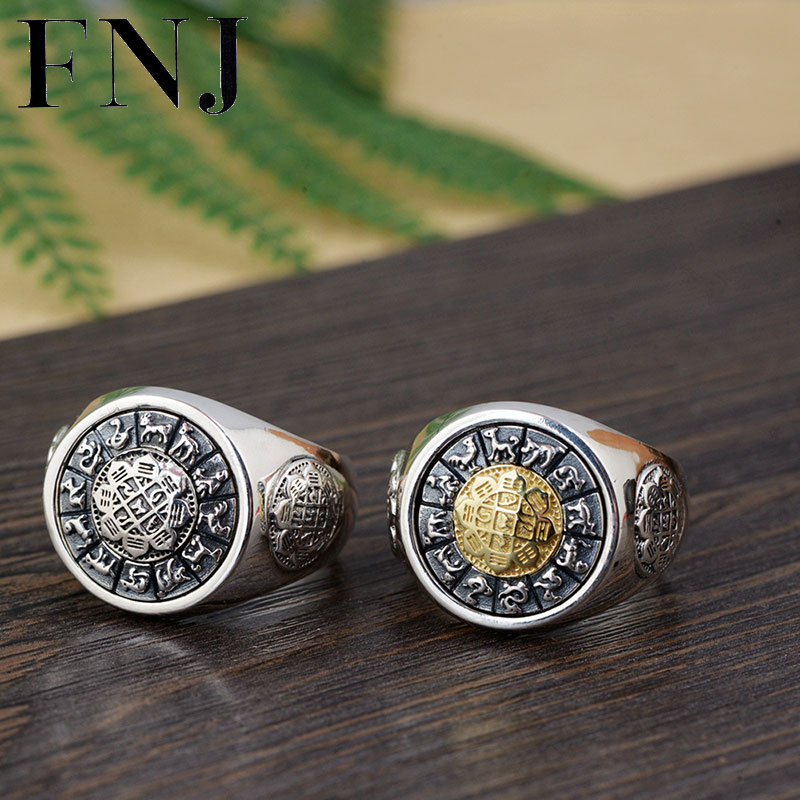FNJ 925 Silver Round Ring Animall Pattern Original Pure S925 Sterling Thai Silver Rings for Men Jewelry Boy USA Size 8-12.5