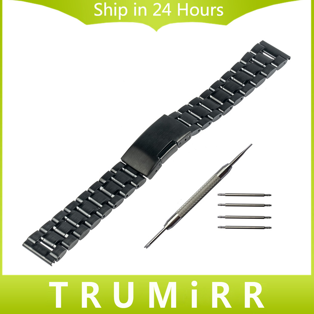 Stainless Steel Watchband for Samsung Gear S2 Classic (R732 & R735) Smart Watch Band Wrist Strap Bracelet Black Silver + Tool