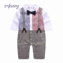 Baby boysParty Wedding Formal clothing piece tattoo neonatal cotton gentleman fake belt long sleeve climbing baby clothes