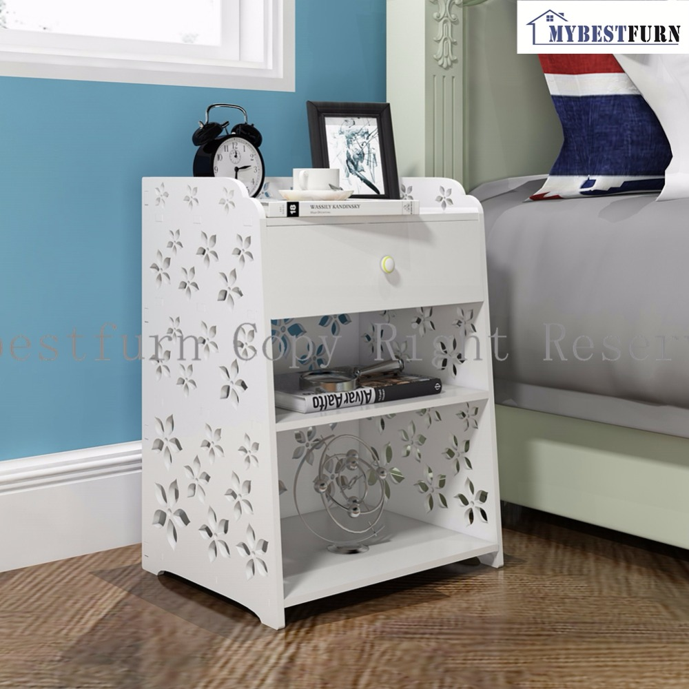 Mybestfurn Large Size White Wood Nightstand, Carved Flower Drawer Nightstand Bed End Table Cabinet 255C(Storage In USA, China)