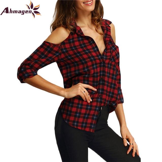 317627ee1 Blusas para mujer 2017 Casual Hombro Off Lepal Blusa Camisa A Cuadros de  Manga Larga Roja