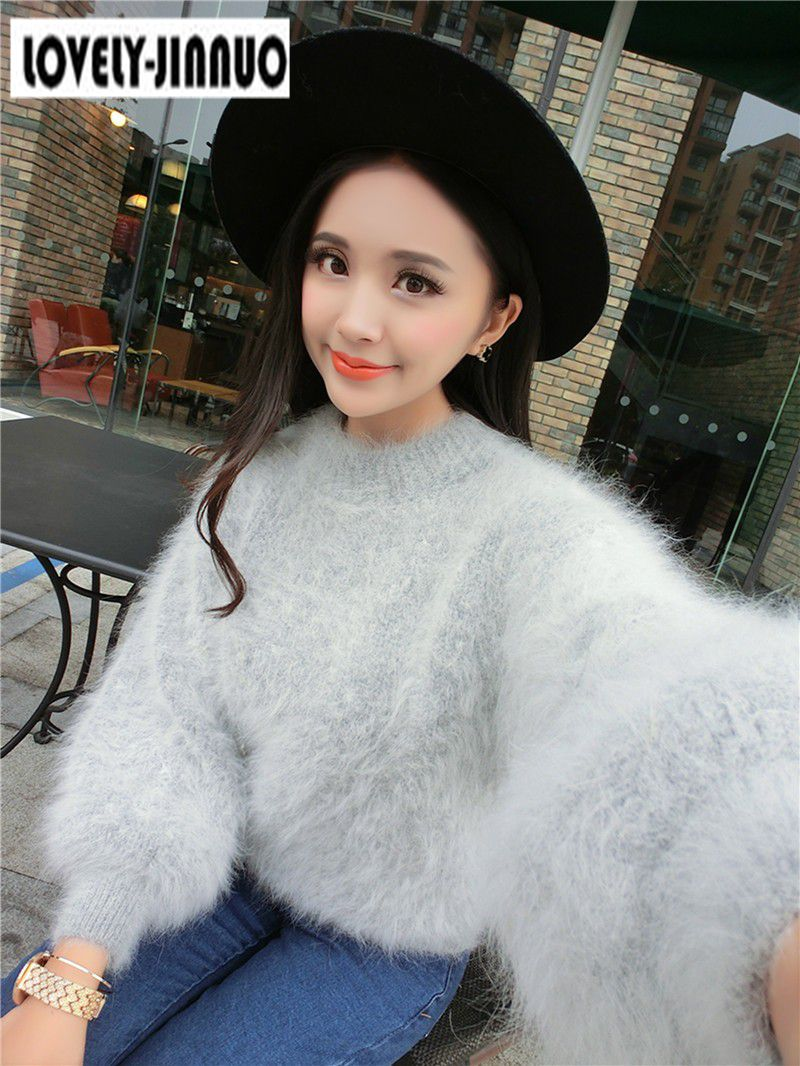 Long haired Mink Cashmere thick warm Female round neck solid color knit shirt bottoming pullover Sweaters