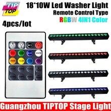 TIPTOP 4 XLOT Алюминиевый Крытый DMX RGBW LED Wall Washer Свет 18X10 Вт Беспроводное Управление 200 Вт для Зал Партия Ночной Клуб Бар DMX 8-КАНАЛЬНЫЙ