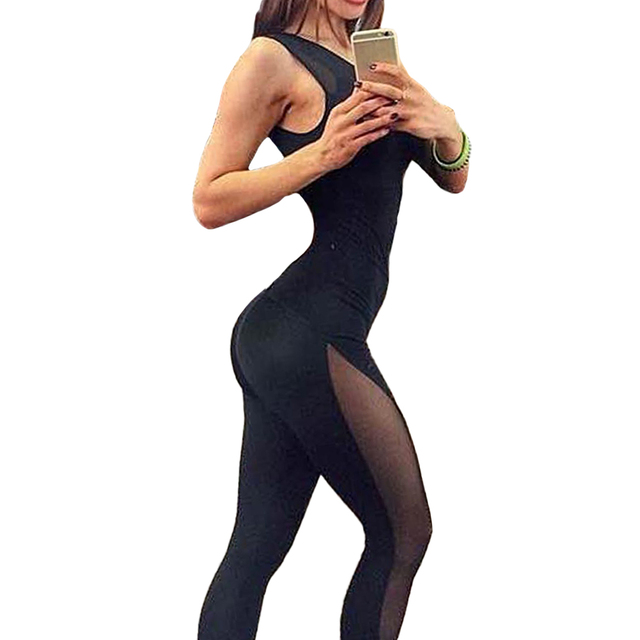 New Sexy Women Jumpsuit Solid Mesh Round Neck Sleeveless Overalls Leotards Playsuit Black Pants Black