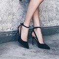Mulheres Camurça 2017 alta-sapatos de salto alto boca rasa saltos finos sapatos único couro genuíno botão cinta sexy de todos os jogo OL bombas
