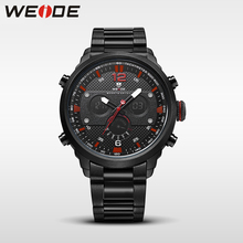 WEIDE genuine sports digital stainless steel quartz mens Wrist watches Auto Date Repeater Alarm Chronograph multiple time zone все цены