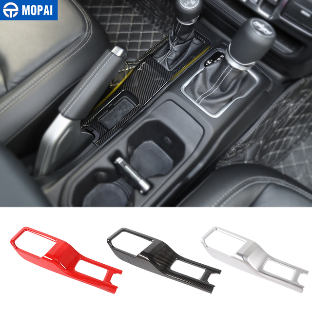 MOPAI Automotive Interior Stickers for Jeep Wrangler JL 2018+ Car 4WD Gear Shift Panel Decoration Cover for Jeep JL Accessories