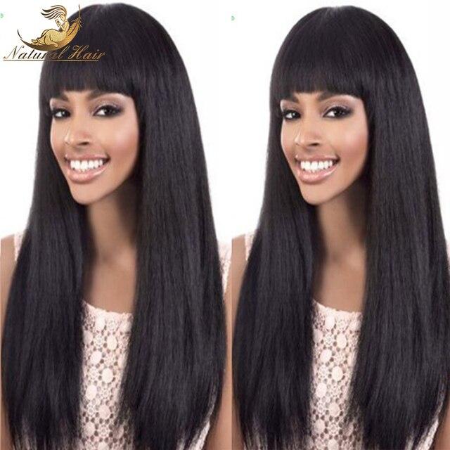 Полный шнурок человеческих волос парики яки натуральный черный волос дешевое glueless полный шнурок человеческих волос парики для чернокожих женщин