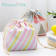Cute Cotton And Linen Simple Lunch Box Bags Bundles Handbags Student Hangable Rope Pulling Travel Portable Home Bag