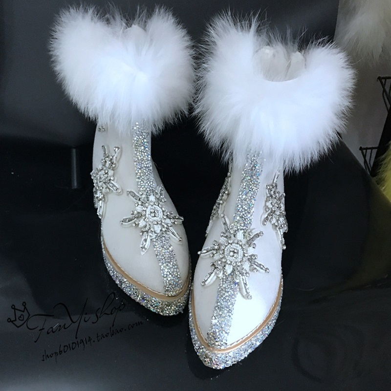 2018 autumn and winter handmade luxury rhinestones real fox fur super beautiful snow boots goddess inside increased warm boots.