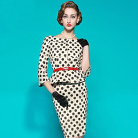 Spring Autumn Women Retro Wave Point Sleeve Round Neck Dresses Sexy Designer Office Dress Cheap Clothes China