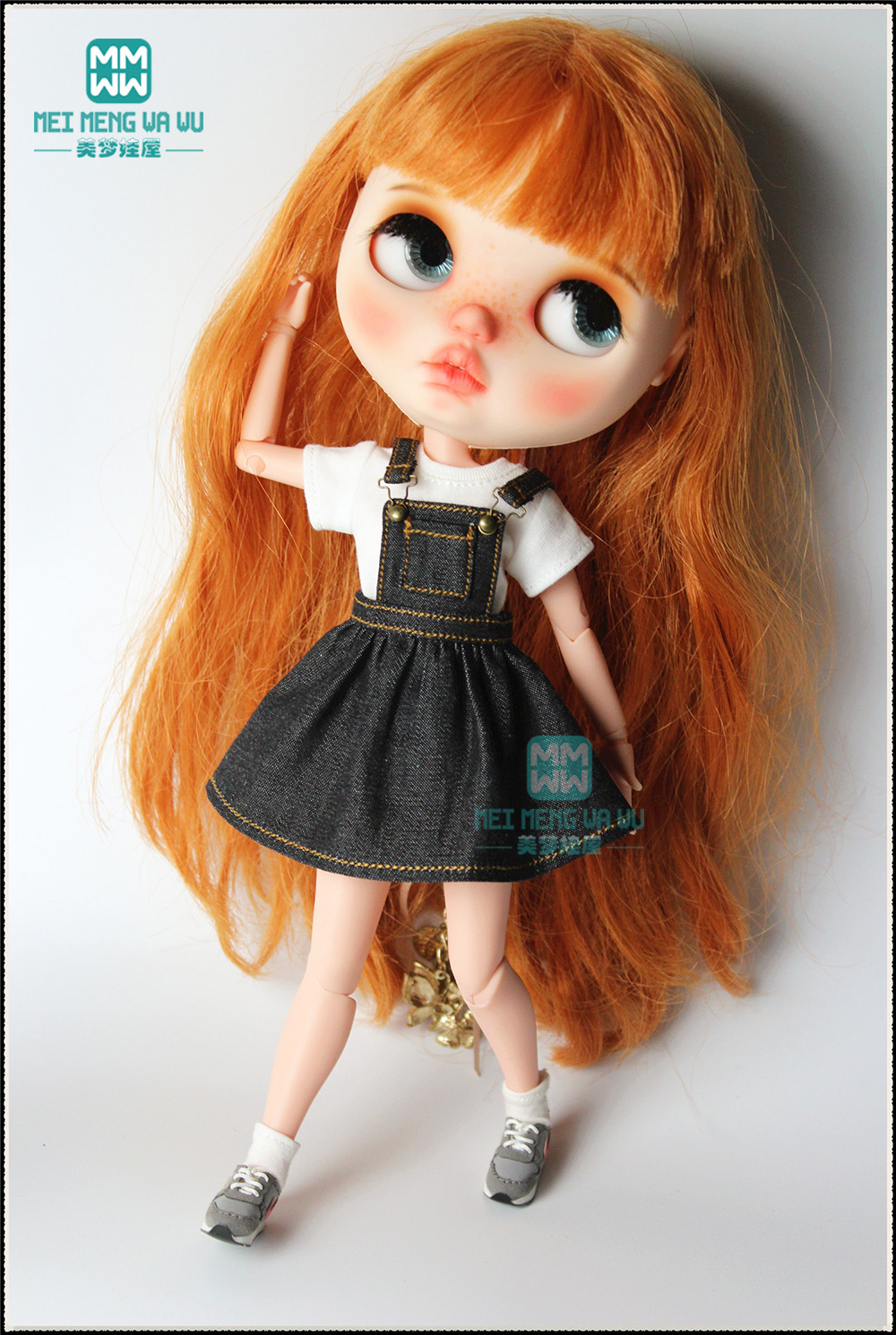 1PCS Blyth Doll Clothes Fashion Denim Strap Dress, Striped Tights For Blyth , Azone, Obitsu, FR 1/6 Doll