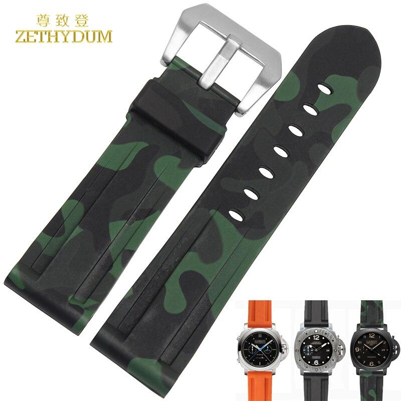 все цены на Silicone Rubber watchband 24mm sport watch strap camouflage orange color wristband bracelet waterproof accessories belt for PAM онлайн