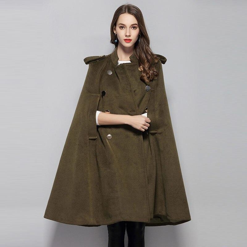 Для женщин Армейский зеленый пончо шерстяное пальто кашемир длинной накидкой пальто куртки женские Винтаж Зима смесь Пальто Vevlet пальто жен