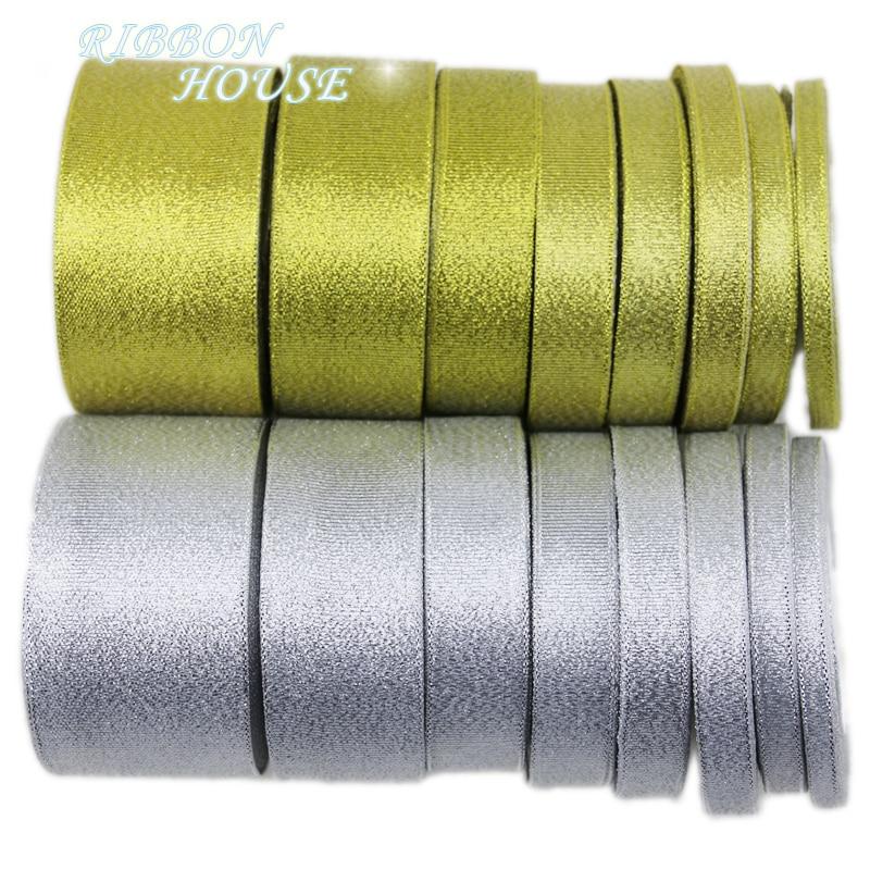 (25 ярдов/партия) Золотая и Серебряная лента Рождественская упаковка ленты Высокое качество оптовая продажа