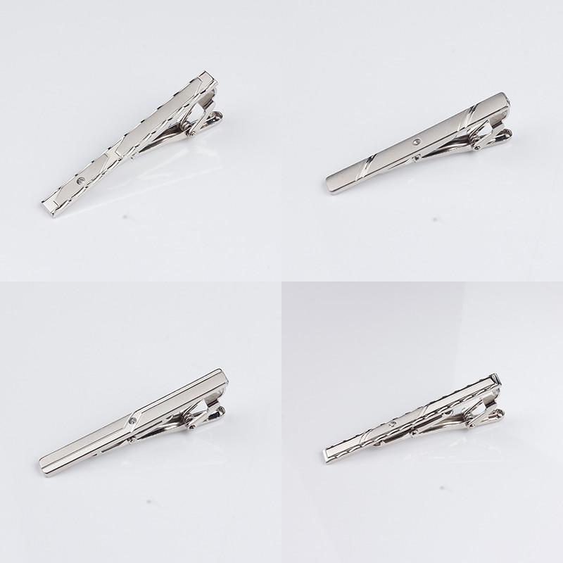 New Arrivel Simple Metal Silver Tie Clip For Men Wedding Necktie Tie Clasp Clip Gentleman Tie Bar Crystal Tie Pin For Mens Gift