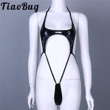TiaoBug Sexy One-Piece Women Lingerie Patent Leather Halter High Cut Bikini Thong Bodysuit Swimwear Adjustable Straps Costume(China)