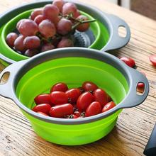10sets 2pcs/set Foldable Silicone Colander Fruit Vegetable Washing Basket Strainer Collapsible Drainer With Handle Kitchen Tool