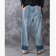 New product release in the spring of 2017, the original design cowboy cotton loose big yards of women's wide leg pants