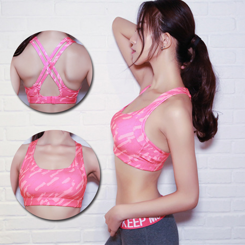 Cross Strap Pink Yoga Bra Women Padded Push Up Breathable Sports Bra Quick Dry Fitted Gym Workout Fitness Crop Top Bras For Girl