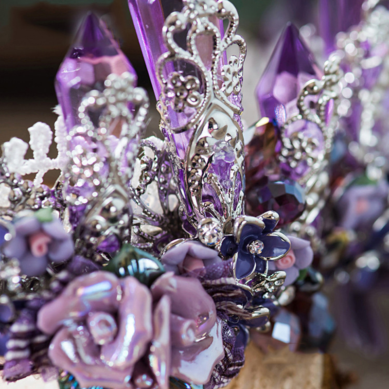 HIMSTORY Dreamty Luxurious Sparkling Purple Violet Crystal Flower Bridal Wedding Crown Tiaras Earring Beautiful Headpiece in Hair Jewelry from Jewelry Accessories