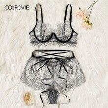 40b0241c3 COLROVIE رمادي رمش الدانتيل شير مجموعة الملابس الداخلية النساء العشير 2019  Underwire شفافة مثير البرازيلي و سراويل داخلية مجموعة