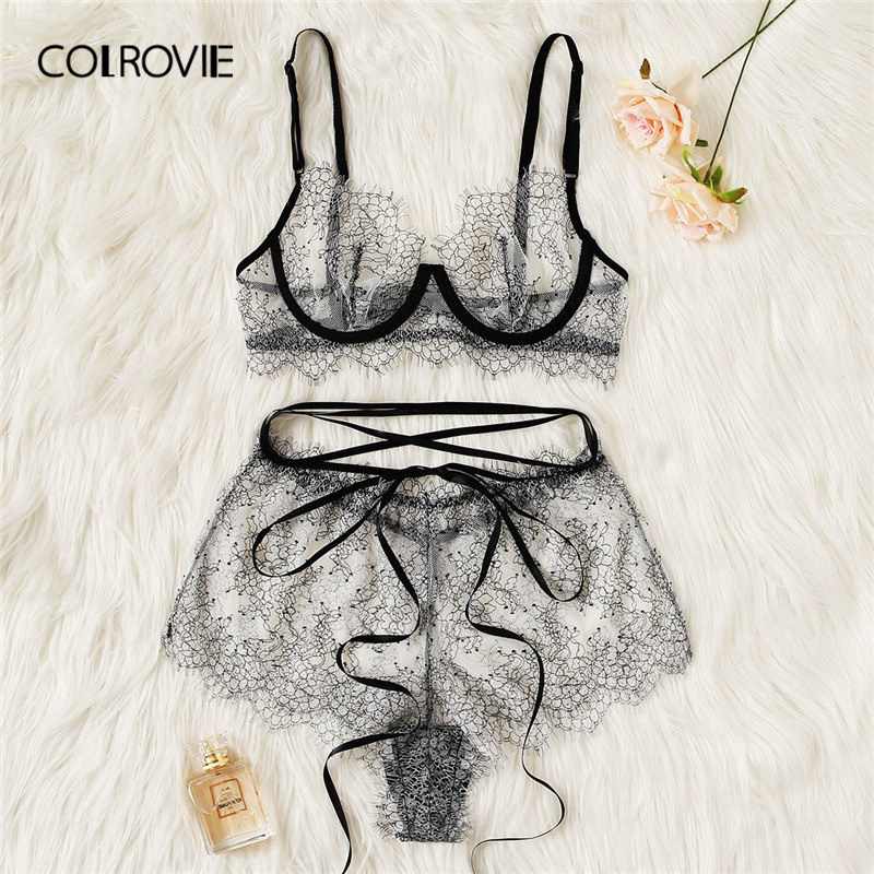 COLROVIE Grey Eyelash Lace Sheer Lingerie <font><b>Set</b></font> <font><b>Women</b></font> Intimates 2019 Underwire Transparent <font><b>Sexy</b></font> <font><b>Bra</b></font> And Briefs Underwear <font><b>Set</b></font> image