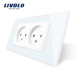 Tomada LIVOLO 16A Duplo Poder De Israel, Temperado Branco/Preto Painel de Vidro, AC 100 ~ 250 V, projeto Siamesed