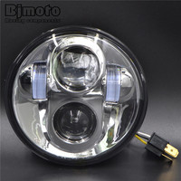Motorcycle Headlight Led Headlights Fit 5 75 H4 Headlamp With Angel Eye Car Led Light For