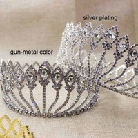 zerongE jewelry 3.2 Vintage crystal Prom full circle crown peacock gun metal Hair Jewelry crown for women party/event