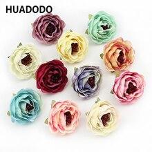 HUADODO 10pieces 4cm Artificial Camellia flower heads Artificial Peony flowers For Wedding Home Decoration DIY Fake Flowers