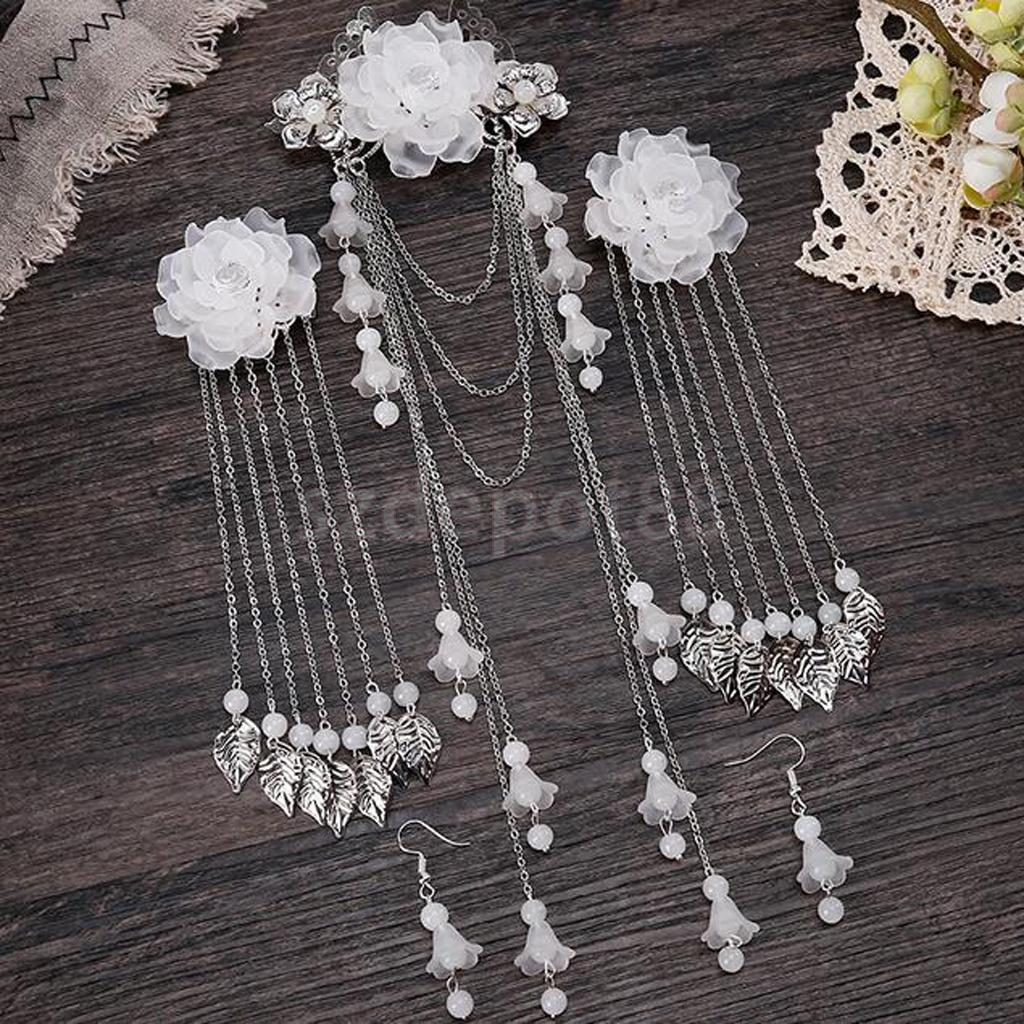 Chinese Women Earrings And Hair Clips Step Shake Alloy Tassel Hair Accessories