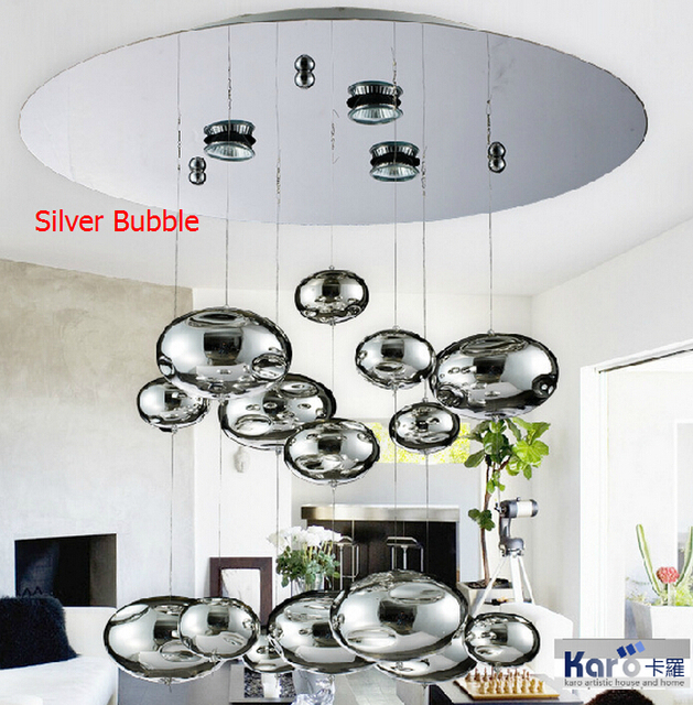 H60cm Murano Due Bubble Glass Ceiling Light Chrome Lampshade     H60cm Murano Due Bubble Glass Ceiling Light Chrome Lampshade Decoration  Fixtures Restaurant Bedroom Home Hanging Lamp