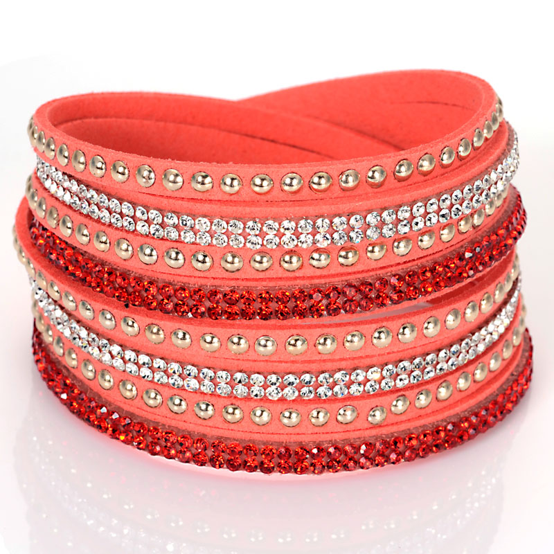 SLAKE BRACELET FAUX LEATHER SUEDE CRYSTALS RED