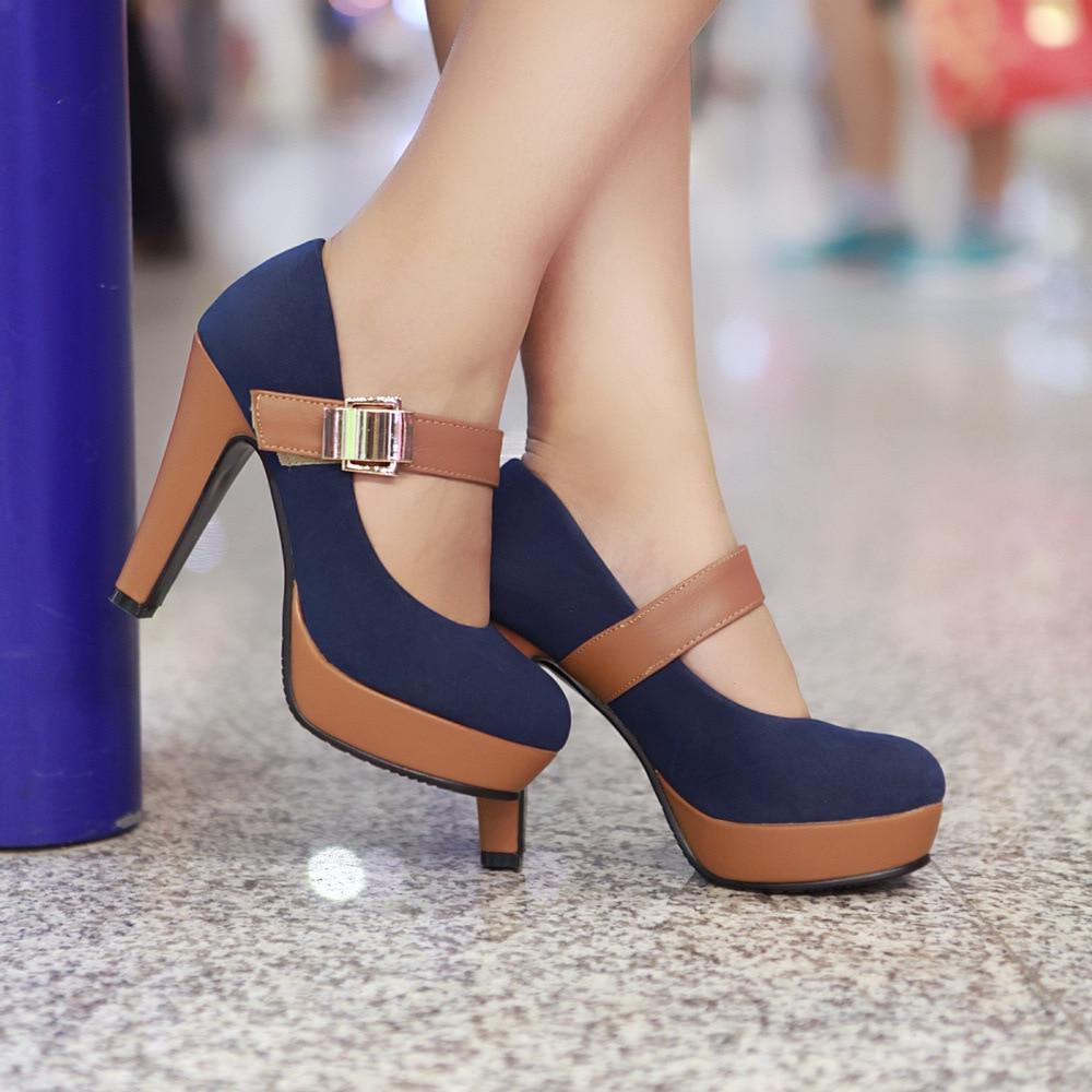 New  Ladies High Heels Women Platforms Stiletto Women Pumps Flock Round Toe  Women Shoes Buckle Strap Spring Ladies Shoes