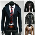 Fall 2016 Men Blazer Suit With Hood blazer masculino British Vintage Fashion Suit cardigam Ternos Blazer trench coat clothes H01