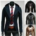 Queda 2016 Homens Blazer Terno Com Capuz blazer masculino Britânico Vintage Da Moda Terno Ternos Blazer trench coat roupas cardigam H01