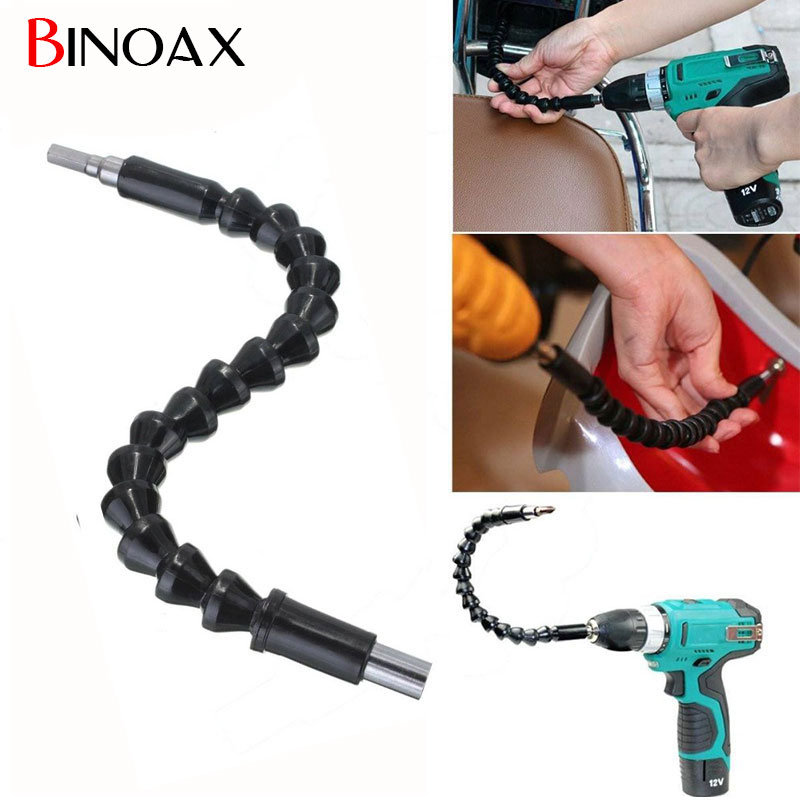 Binoax 1/4 Inch 295MM Plastic Black Metal Soft Flexible Shaft Hex Shank Extension Screwdriver Drill Bit Holder